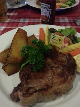 Buffalo Steak House - Kata Plaza: Garlic Butter Sirloin Steak with fried Idaho potatoes