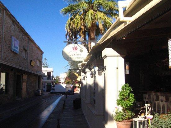 Corina Restaurant: Outside road.