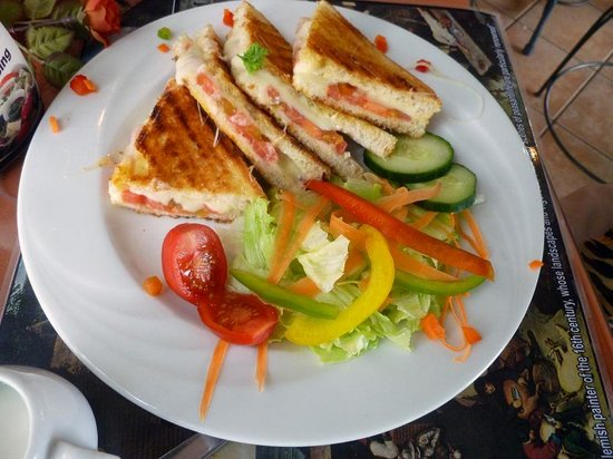 Paoletto Cafe Waffles Deli: Toasted Cheese & Tomato with salad or chips