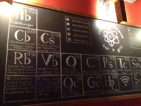 Periodic table err drink menu picture of miracle of for Table 52 drink menu
