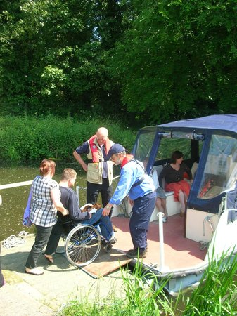 River Stour Trust Boat Trips: Our pontoon style boat, Francis J, can accommodate two wheelchair passengers at Sudbury