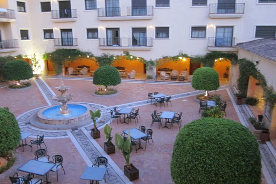 Gran Hotel Benahavis: view of courtyard from our room at dusk
