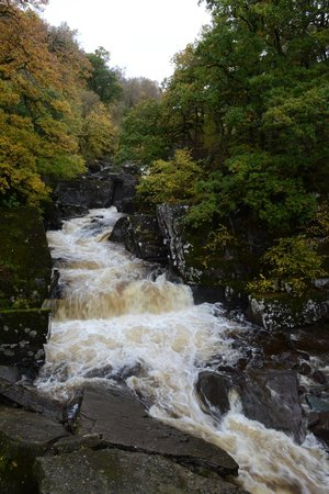 Bracklinn Falls Bridge and Callander Crags: The falls