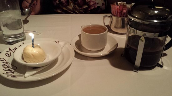 Delmonico Steakhouse: Banana Sorbet and 2-cup French Press of Jamaican Blue Mountain coffee