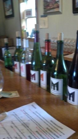 Monello Winery: Lined up and ready to taste
