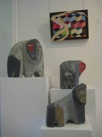 Madrona Gallery: Various Morley Myers sculptures and Janice Colbert painting