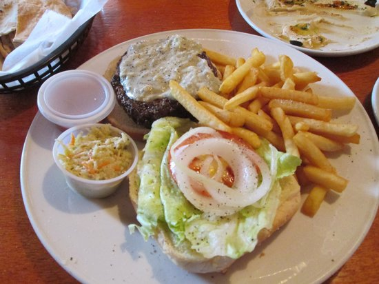 Topper's By The Sea: My blue cheese burger, french fries, & cole slaw
