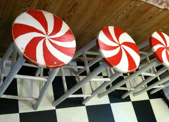 The Gourmet Whaler: Pinwheel stools on which to enjoy your ice cream!