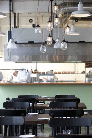Charley Noble Eatery & Bar: View into the kitchen from the raw bar