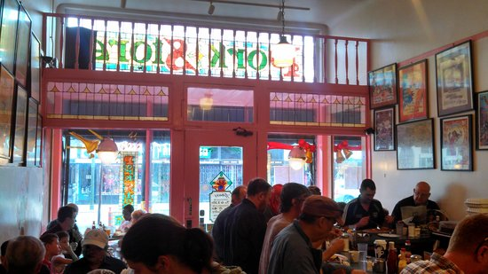 Pork Store Cafe : Inside with stained-glass sign