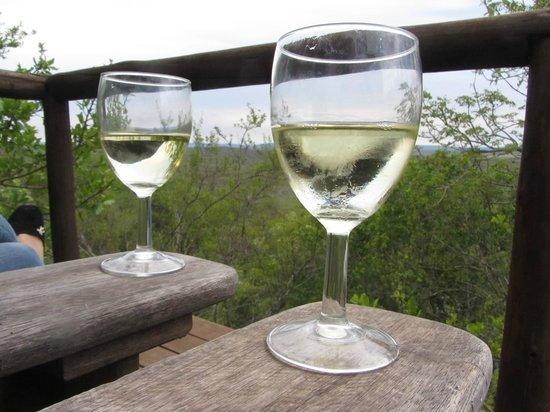 Manyatta Rock Camp: Enjoying a Wine