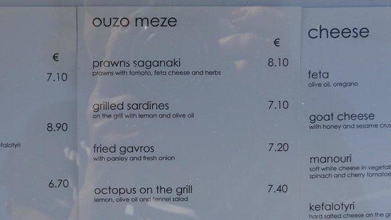 Kyklos Greek Restaurant : Indicating some of the dishes and the cost