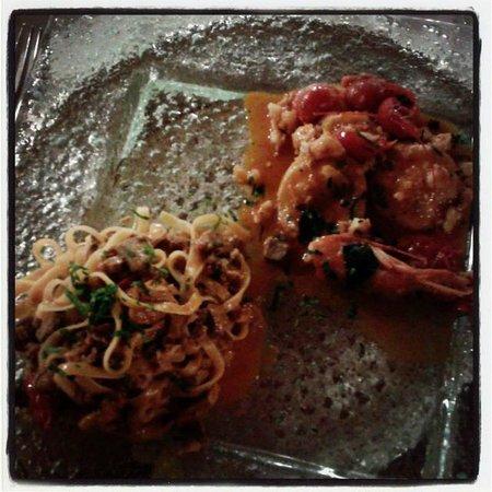 Ristorante Mare Mosso: Tagliolini al tonno rosso nostrano e raviolini ripieni di rana pescatrice con ragu ai due crosta