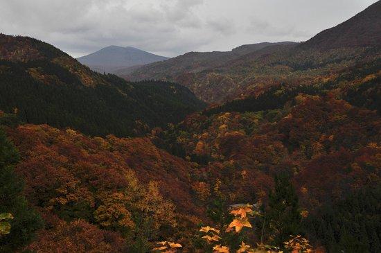 Aoni Onsen: 宿に下りていく手前から八甲田方面の眺め