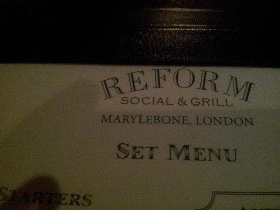 Reform Social & Grill : menu