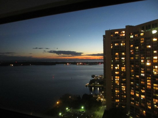 The Westin Harbour Castle: South Tower 25th floor, room 2525 at sunset, facing the Island Porter airport