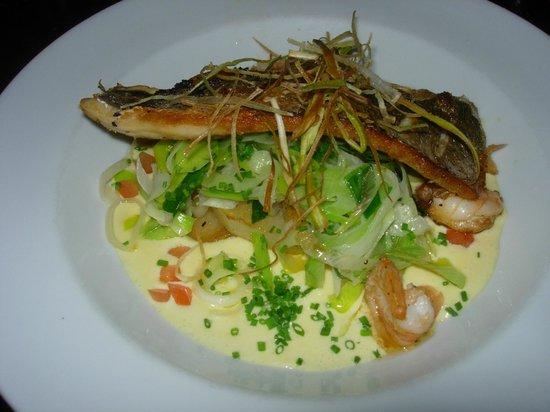 The Plough Inn: Sea bass, vermouth(?) sauce
