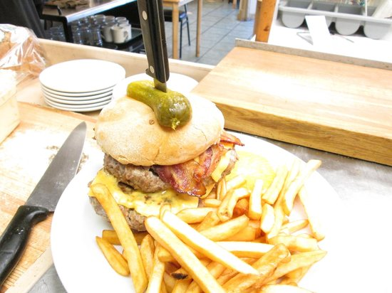 Caswell Hill Cafe: Our Barbarian Burger. Better have a good appetite for this one.