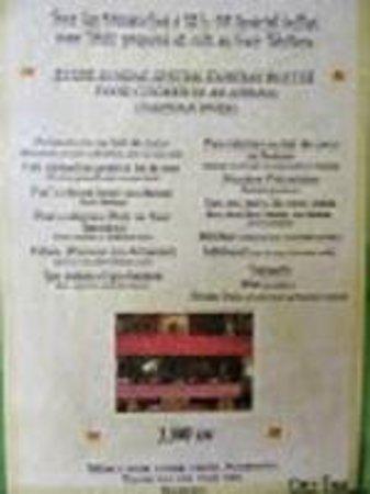 Chez Tara : le menu du maha tahiti