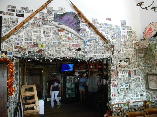 Johnson Creek Tavern: Dollars on the ceiling, walls etc. as donations for a worthy cause