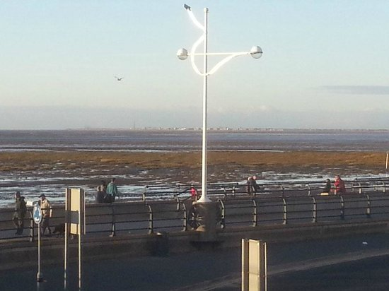 Blackpool visible in the distance from Southport pier