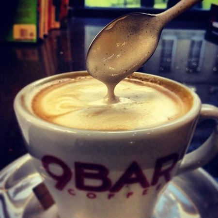 9 Bar Coffee: A bit creamier for a large cappucino