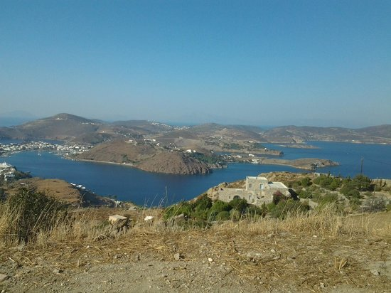 Walking in Patmos: Another view:  the Monastery is below!