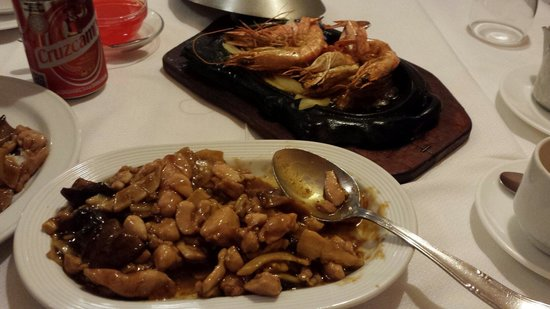 So Called Peking Sauce Grilled King Prawn And Bamboo And Mushroom Chicken