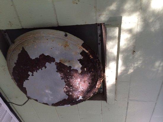 Bulow RV Resort: World War II era fan?  Rusted through!