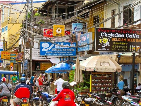 Chokdee Cafe & Belgian Beer Bar: Chokdee on Vientiane's busy Mekong Riverfront street