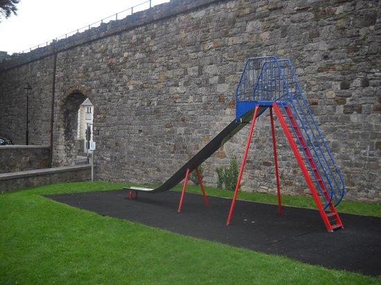 The Black Boy Inn: slide at playground across street