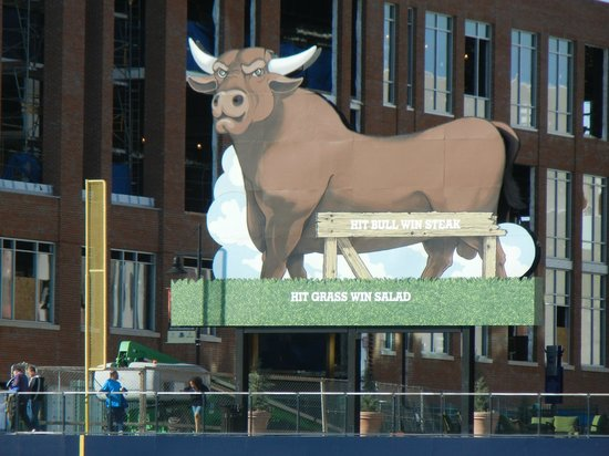 Durham Bulls Athletic Park: The iconic outfield bull. A batter who hits him wins a steak.