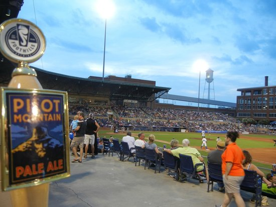 Durham Bulls Athletic Park: The Pilot Mountain beer tap in the foreground at the park