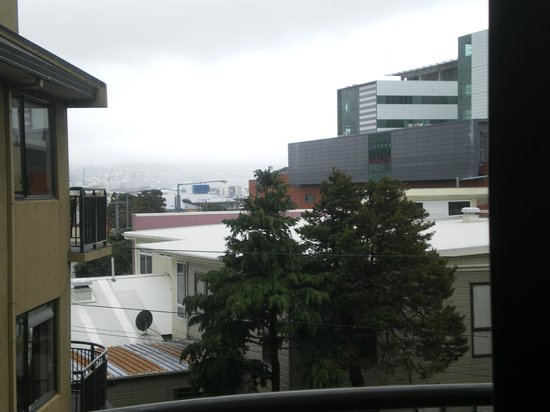 Southgate Motor Inn: View from room, looking towards city. Overcast day. Hospital in background on right.