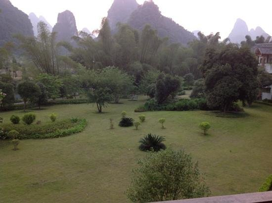 Yangshuo Resort: view from the room, there is actually a clean junta bed on the balcony!