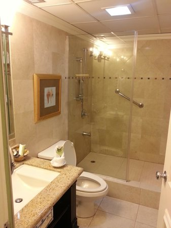 The Courtleigh Hotel and Suites: Spacious, clean shower/WC room
