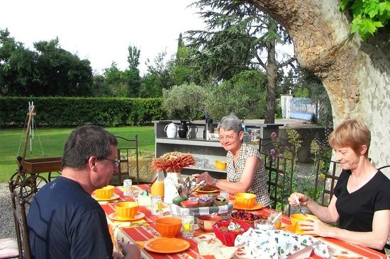 Le Mas des Hirondelles : petit déjeuner sous le platane