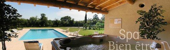 Le Mas des Hirondelles : depuis le pool house - le SPA