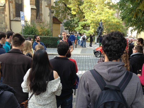 Pavel's Personal Prague Tour: at the Franz Kafka statue