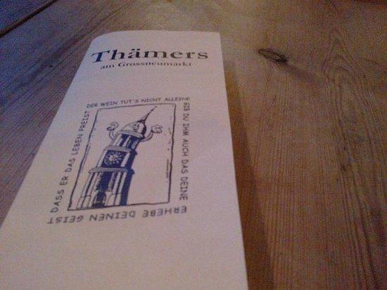 Thamer's: Speisekarten Thamers