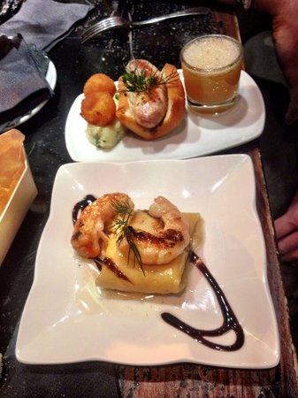 Bitoque: Ravioli de maíz, con langostino y modena