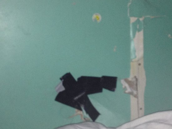 India House Hostel: Hole in wall next to a bottom bunk