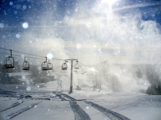 Sundown Mountain: Making Snow as the Sun Shines!
