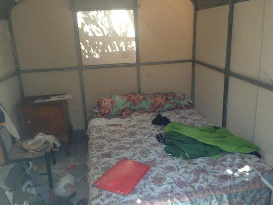 Santorini Camping: L'interno della bed tent (scusate il disordine!!)