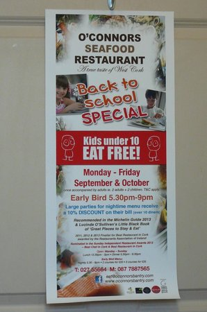 O'Connors Seafood Restaurant : Poster with Specials @ O'Connor's Seafood Restaurant