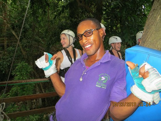 Rainforest Adventures: My new friend Mark.  Worker on the zip line