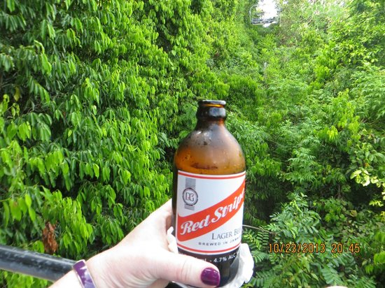 Rainforest Adventures: My beer for the way down on the chair lift.