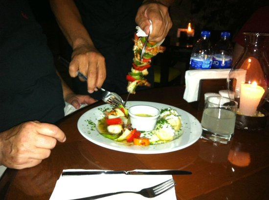 Buccanos at Night : Tequila Shrimp Kabob New Potatos