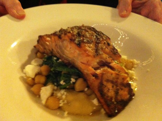 Vergina on Fifth Avenue : Salmon with baby spinach and feta... A winning combination.