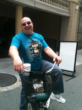 Confederacy of Cruisers Bike Tours: My husband having a blast on the History of Drinking Tour!